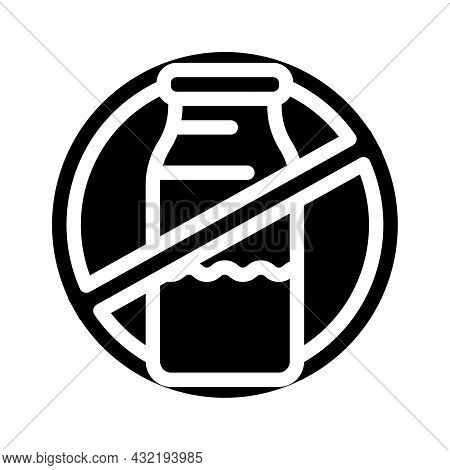 Lactose Dairy Product Free Glyph Icon Vector. Lactose Dairy Product Free Sign. Isolated Contour Symb