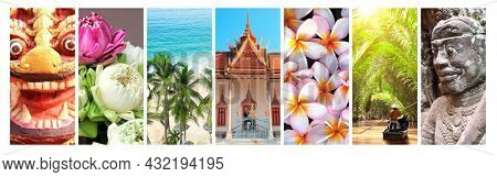 Collection of vertical banners with nature and landmarks of Asia. Palm, beach, Mekong cruise, ancient statue of lion and mythic guardian, plumeria flowers, buddhist pavilion. Travel and resort concept