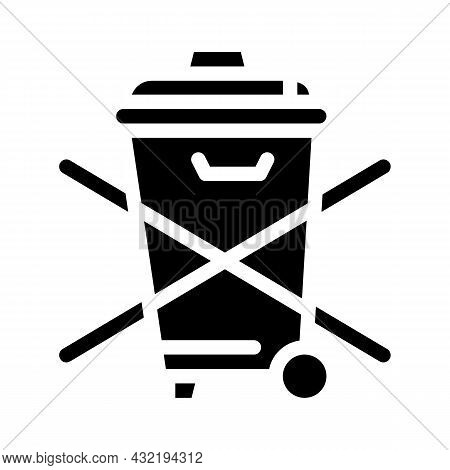 Do Not Throw Garbage Bin Glyph Icon Vector. Do Not Throw Garbage Bin Sign. Isolated Contour Symbol B