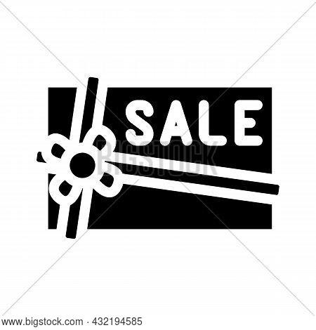 Present Sale Card Glyph Icon Vector. Present Sale Card Sign. Isolated Contour Symbol Black Illustrat