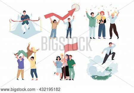 Set Of Vector Cartoon Characters In Graphic Metaphors For Good Teamwork And Success Achieving.succes