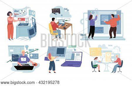 Set Of Vector Cartoon Characters In Development Workflow Scenes.various It Professionals Work And Cr