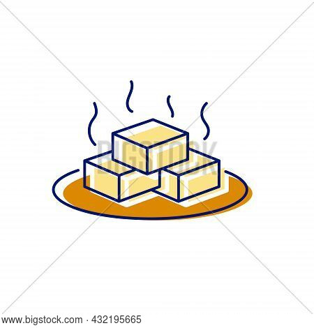 Aromatic Tofu Cheese On A Plate Flat Icon. Taiwanese Traditional Food. Color Filled Symbol. Isolated