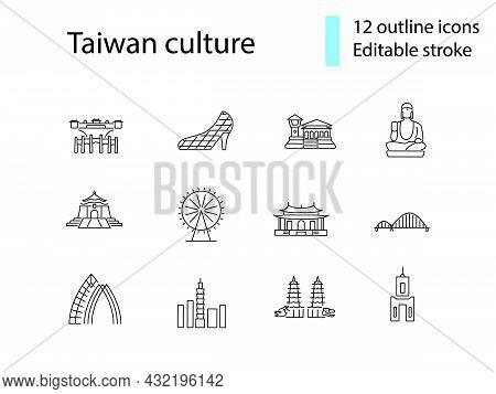 Taiwan Outline Icons Set. Taiwanese Famous Buildings. Buddha, Pagoda And Bridge. Customizable Linear