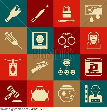 Set Suspect Criminal, Internet Piracy, Thief Mask, Lock Picks For Lock Picking, Wanted Poster, Syrin