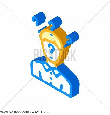 Searching Answers Male Isometric Icon Vector. Searching Answers Male Sign. Isolated Symbol Illustrat