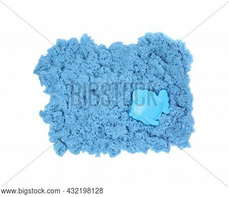 Blue Kinetic Sand And Toy On White Background, Top View