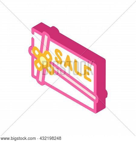 Present Sale Card Isometric Icon Vector. Present Sale Card Sign. Isolated Symbol Illustration