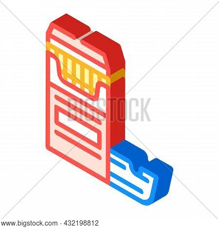 Cigarettes And Ash Tray Isometric Icon Vector. Cigarettes And Ash Tray Sign. Isolated Symbol Illustr