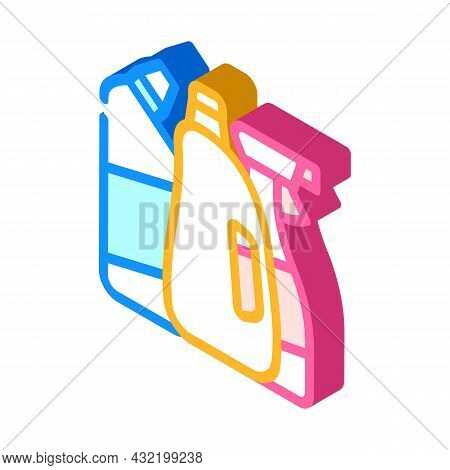 Domestic Chemical And Detergent Liquid Department Isometric Icon Vector. Domestic Chemical And Deter