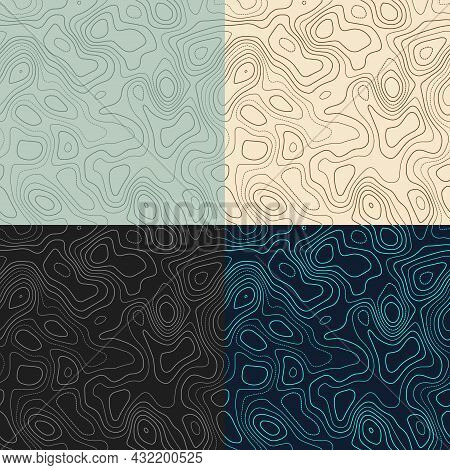 Topography Patterns. Seamless Elevation Map Tiles. Artistic Isoline Background. Appealing Tileable P
