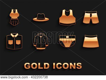 Set Hoodie, Short Or Pants, Skirt, Men Underpants, Shirt, Undershirt, And Man Hat Icon. Vector