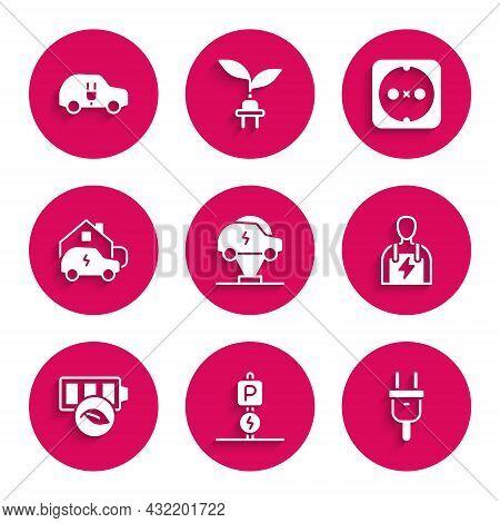 Set Electric Car, Charging Parking Electric, Plug, Car Mechanic, Eco Nature Leaf Battery, Home, Elec