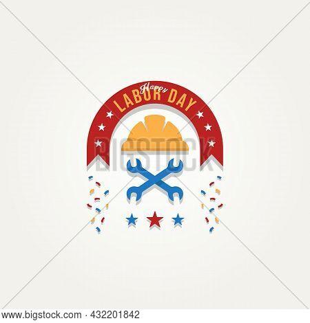 Happy Labor Day Celebration Flat Emblem Logo Template Vector Illustration Design. Simple Lettering G
