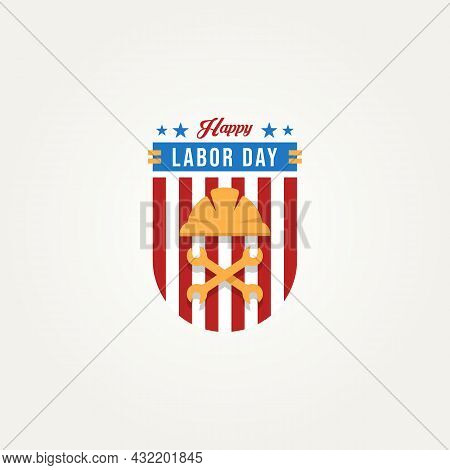 Happy Labor Day Celebration With Shield, Hard Helmet And Wrench Logo Icon Template Vector Illustrati