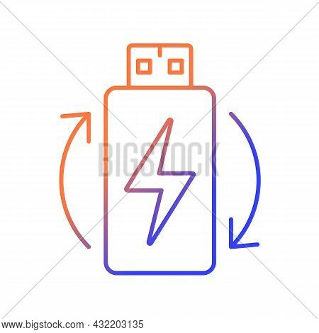 Rechargeable Lithium Ion Battery Gradient Linear Vector Manual Label Icon. Thin Line Color Symbol. M