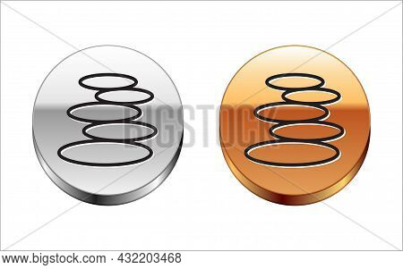 Black Line Stack Hot Stones Icon Isolated On White Background. Spa Salon Accessory. Silver-gold Circ