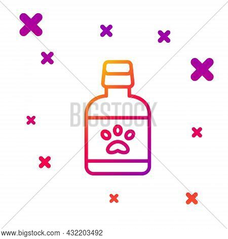 Color Line Dog Medicine Bottle Icon Isolated On White Background. Container With Pills. Prescription