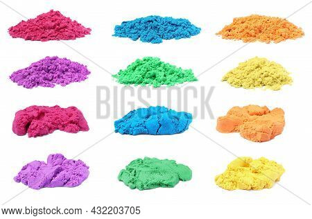Set With Piles Of Colorful Kinetic Sand On White Background