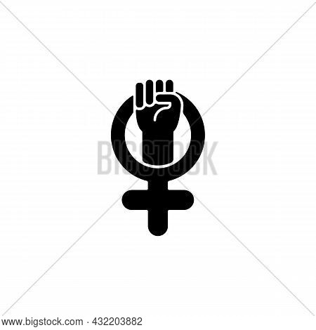 Female Symbol Black Glyph Icon. Pride In Sisterhood. Clenched Fist In Venus Sign. Self Respect. Ment