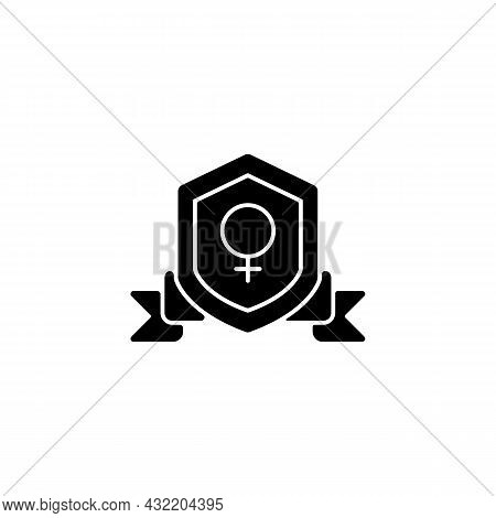 Feminist Organization Black Glyph Icon. Protecting Women Rights. Advancing Gender Equality. Achieve