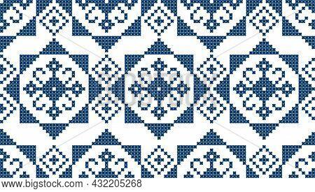 Zmijanjski Vez Traditional Cross-stitch Inspired Vector Seamless Pattern - Textile Or Fabric Print F