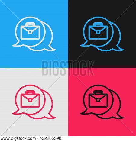 Pop Art Line Online Working Icon Isolated On Color Background. Freelancer Man Working On Laptop At H