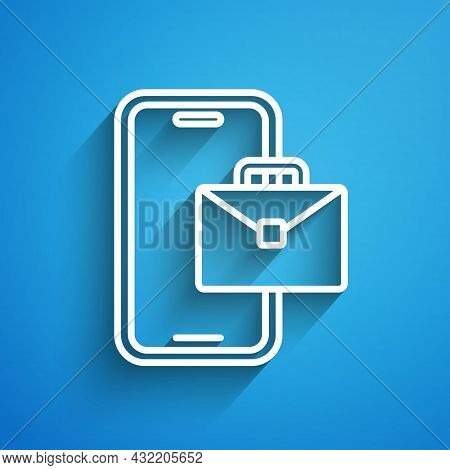 White Line Freelancer Icon Isolated On Blue Background. Freelancer Man Working On Laptop At His Hous