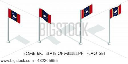Isometric Flag Of American State Of Mississippi In Static Position And In Motion On Flagpole. 3d Vec