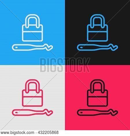 Pop Art Line Lockpicks Or Lock Picks For Lock Picking Icon Isolated On Color Background. Vector
