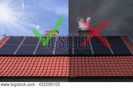 Stop Smog And Solar Panel - Concept. Solar Panels And A Smoking Chimney. Ecological Probelm