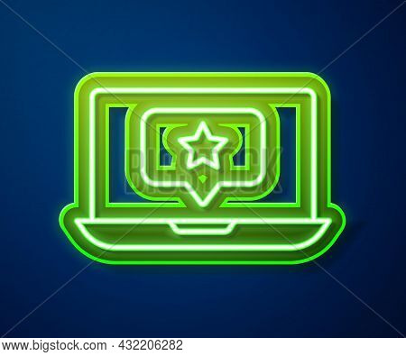 Glowing Neon Line Laptop With Star Icon Isolated On Blue Background. Favorite, Best Rating, Award Sy