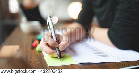 People Hand Holding A Pen For Working To Write On A Book For Letter Or Business Document, Student Ed