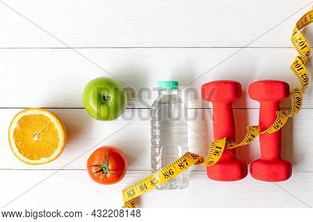 Diet Health Eat And Food For Lifestyle Health Concept. Sport Exercise Equipment Workout With Fresh F