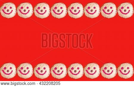 Rows Of Smiling Face Coconut Flakes Jelly Donuts On Red Backdrop With Copy Space