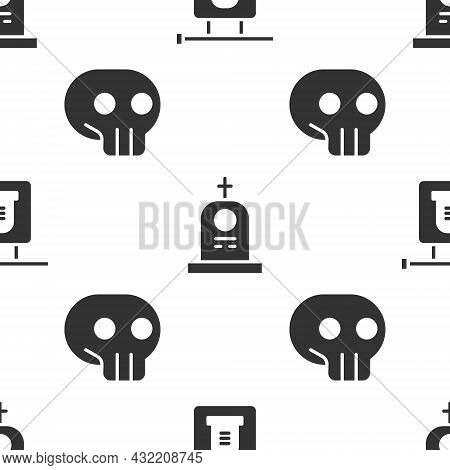 Set Signboard Tombstone, Grave With Tombstone And Skull On Seamless Pattern. Vector
