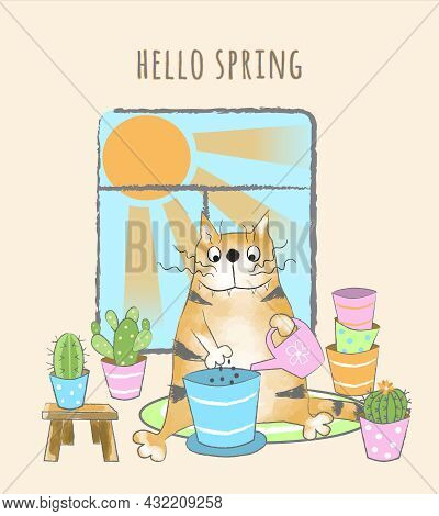 Funny Red Tabby Cat Transplants Flowers And Cacti Into The Pots. Hello Spring. Cartoon Vector Illust