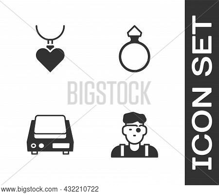 Set Jeweler Man, Necklace With Heart Shaped Pendant, Electronic Jewelry Scales And Diamond Engagemen