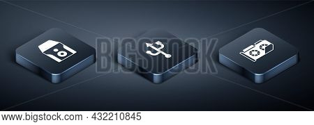 Set Isometric Uninterruptible Power Supply, Video Graphic Card And Usb Icon. Vector