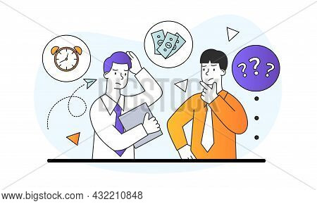 Choice Between Values Concept. Men Ask Question About Importance Of Time And Money. Company Employee