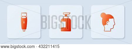 Set Bottle Of Shampoo, Hair Clipper And Hairstyle For Men. White Square Button. Vector