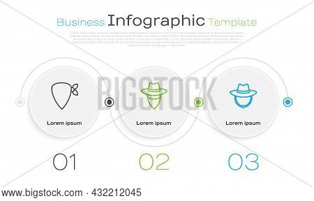Set Line Cowboy Bandana, And Western Cowboy Hat. Business Infographic Template. Vector