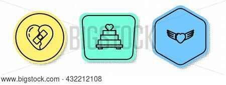 Set Line Healed Broken Heart, Wedding Cake With And Heart Wings. Colored Shapes. Vector