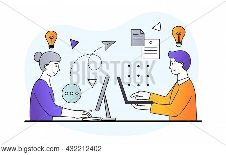 People Texting On Laptops. Man And Woman Communicate Via Internet, Online Correspondence. Social Med