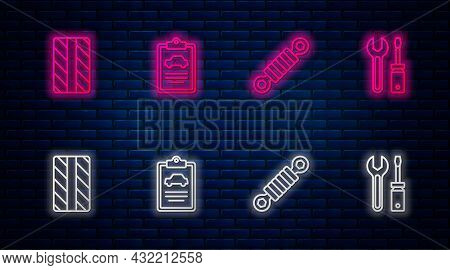 Set Line Car Inspection, Shock Absorber, Tire Wheel And Screwdriver And Wrench Spanner. Glowing Neon