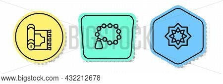 Set Line Traditional Carpet, Rosary Beads Religion And Octagonal Star. Colored Shapes. Vector
