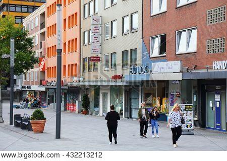 Gelsenkirchen, Germany - September 17, 2020: People Visit Ahstrasse, A City Street In Gelsenkirchen,