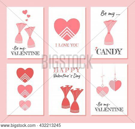 Cute Holiday Set Of Greeting Cards For Valentine's Day. Beautiful Postcard Templates With Pink Heart