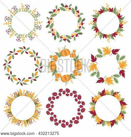 Set Of Bright Round Frames With Copyspace. Beautiful Traditional Autumn Wreaths Of Fallen Leaves, Br