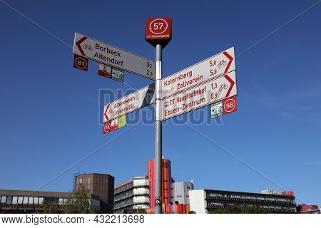 Essen, Germany - September 20, 2020: Bicycle Route Direction Signs In Essen, Germany. Essen Is The 9